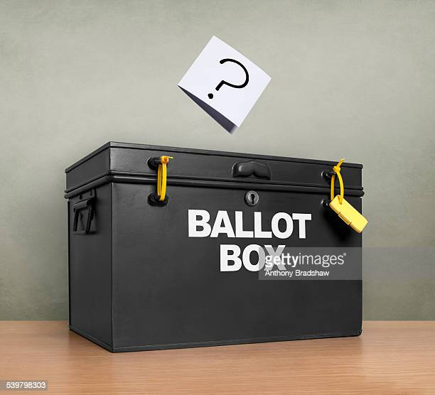 Question mark at the ballot box