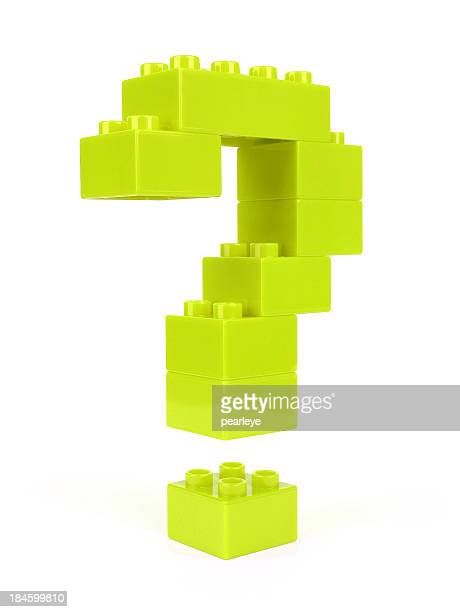 Question mark constructed of green plastic blocks