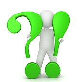 question mark exclamation mark 3d green sign symbol icon for question and answer or problem and solution with standing stick man figure person people cut out q and a template isolated on white backgro