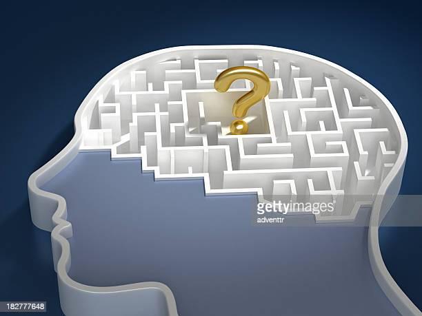 Question mark in brain