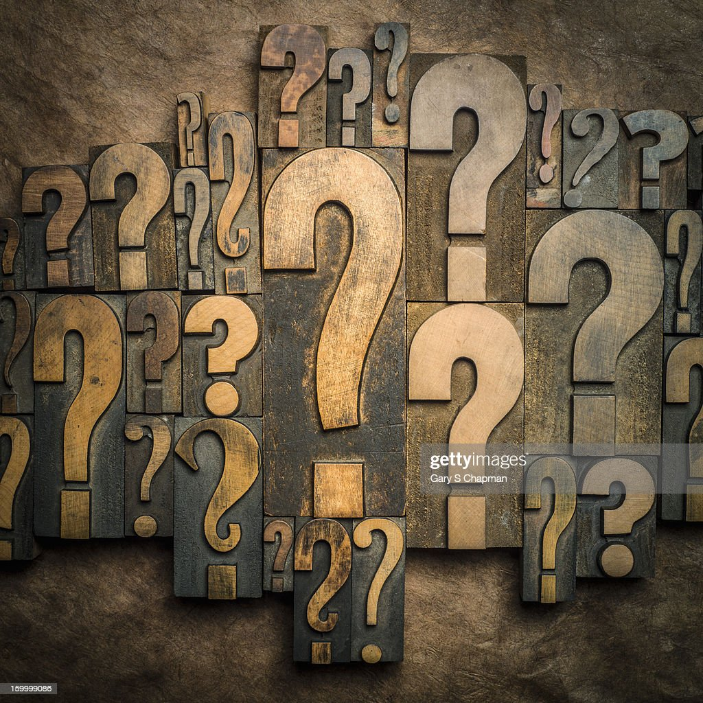 Question mark wooden printer blocks