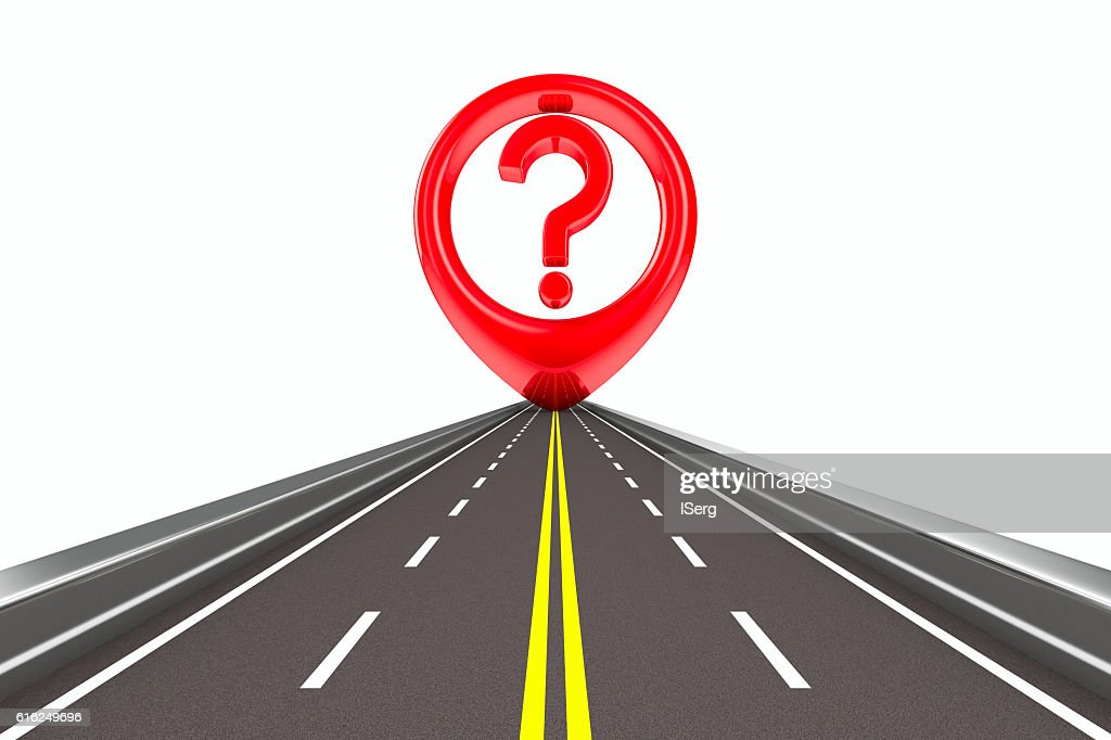 Question sign on road Isolated 3D image : Foto de stock