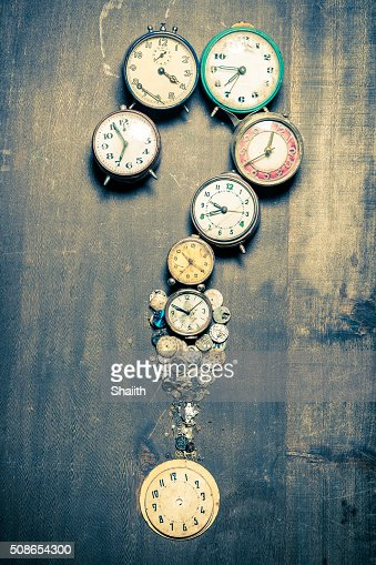 Questions mark arranged by clocks : Stock Photo