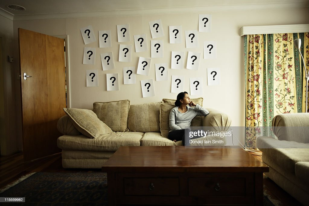 Questions mark on wall : Stock Photo