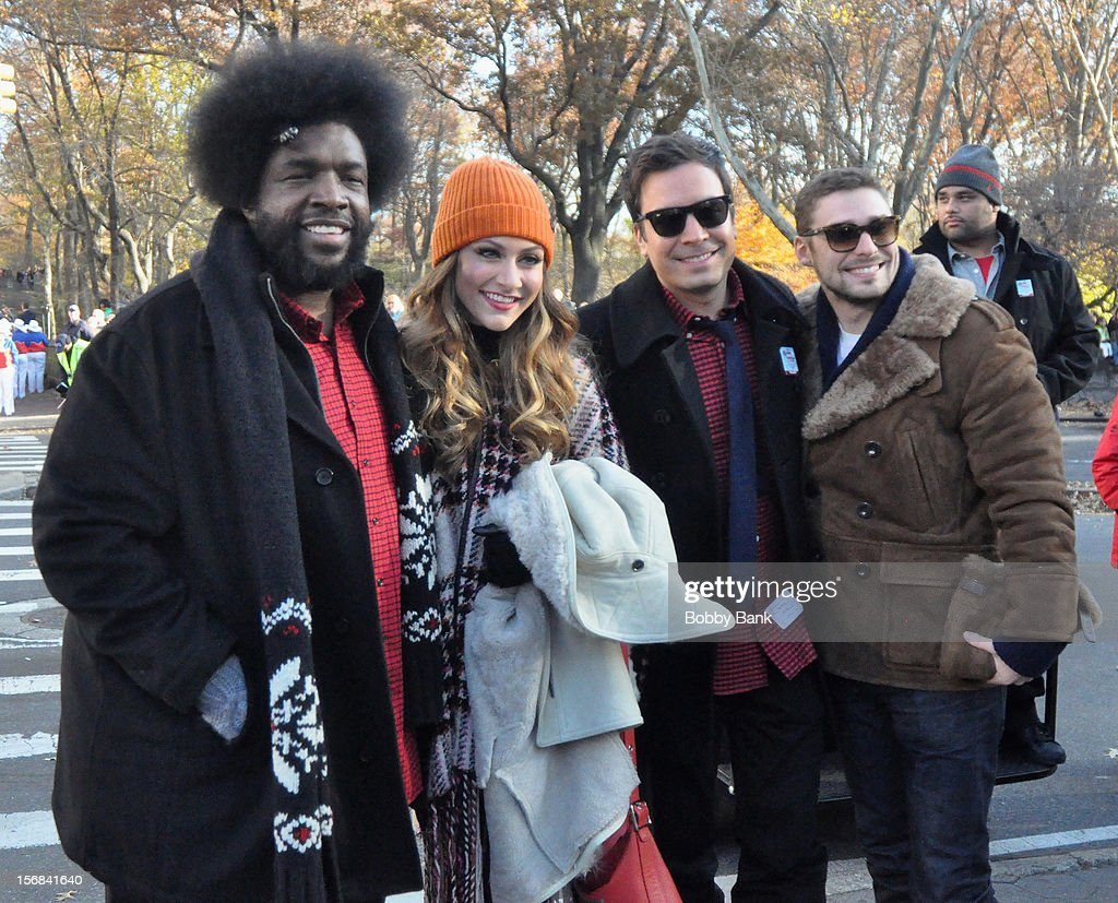 Questlove, Amy Heidemann, Nick Louis Noonan of Karmin and Jimmy Fallon attends the 86th Annual Macy's Thanksgiving Day Parade on November 22, 2012 in New York City.