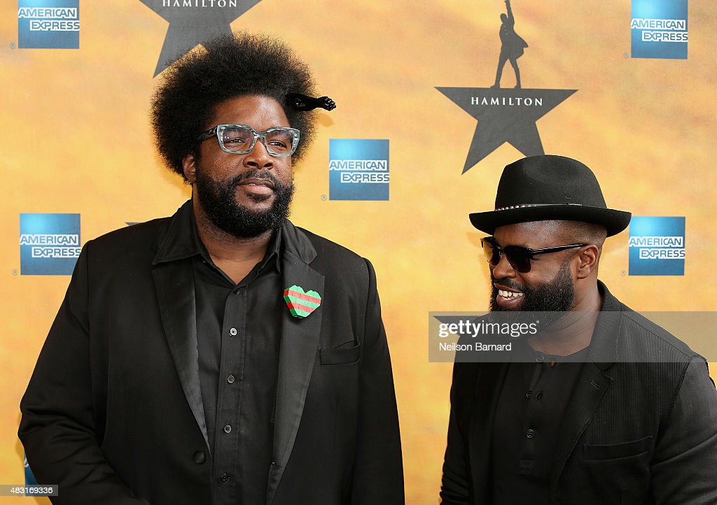 <a gi-track='captionPersonalityLinkClicked' href=/galleries/search?phrase=Questlove&family=editorial&specificpeople=537550 ng-click='$event.stopPropagation()'>Questlove</a> and <a gi-track='captionPersonalityLinkClicked' href=/galleries/search?phrase=Black+Thought&family=editorial&specificpeople=228555 ng-click='$event.stopPropagation()'>Black Thought</a> attend 'Hamilton' Broadway Opening Night at Richard Rodgers Theatre on August 6, 2015 in New York City.