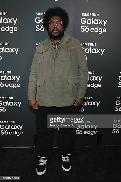 Questlove arrives on the red carpet at the Samsung Galaxy S 6 edge launch in New York City on April 7 2015 in New York City
