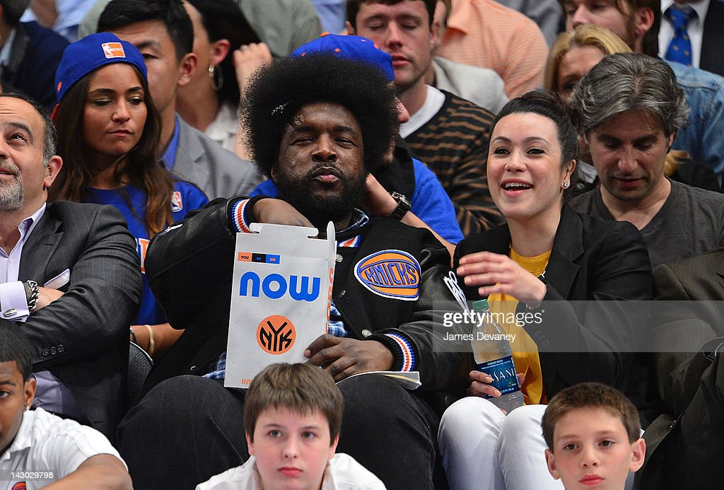 <a gi-track='captionPersonalityLinkClicked' href=/galleries/search?phrase=Questlove&family=editorial&specificpeople=537550 ng-click='$event.stopPropagation()'>Questlove</a> attends the New York Knicks vs Boston Celtics basketball game at Madison Square Garden on April 17, 2012 in New York City.