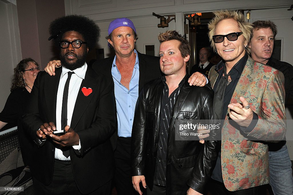 <a gi-track='captionPersonalityLinkClicked' href=/galleries/search?phrase=Questlove&family=editorial&specificpeople=537550 ng-click='$event.stopPropagation()'>Questlove</a> of The Roots, <a gi-track='captionPersonalityLinkClicked' href=/galleries/search?phrase=Chad+Smith+-+Drummer&family=editorial&specificpeople=12809050 ng-click='$event.stopPropagation()'>Chad Smith</a> of the Red Hot Chili Peppers, Frank Wright 'Tre Cool of Green Day, and <a gi-track='captionPersonalityLinkClicked' href=/galleries/search?phrase=Matt+Sorum&family=editorial&specificpeople=213836 ng-click='$event.stopPropagation()'>Matt Sorum</a> of Guns N' Roses attend the 27th Annual Rock And Roll Hall Of Fame Induction Ceremony at Public Hall on April 14, 2012 in Cleveland, Ohio.