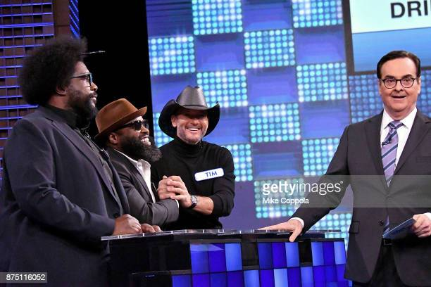 Questlove of The Roots Singer/songwriter Tim McGraw Black Thought of The Roots and Comedian Steve Higgins play a trivia game on 'The Tonight Show...