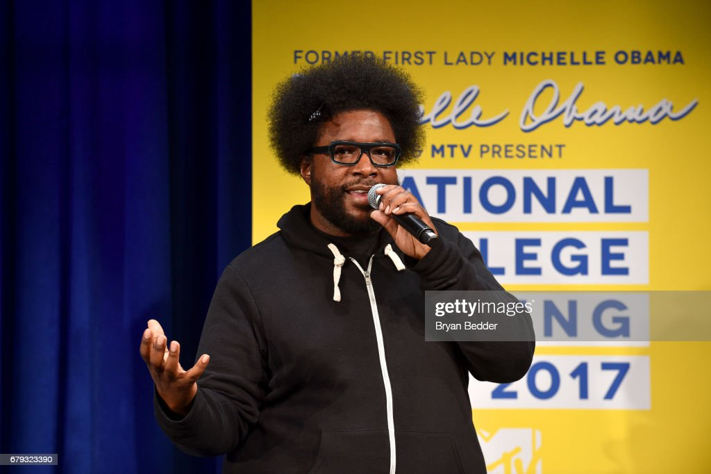 Questlove speaks onstage during MTV's 2017 College Signing Day With Michelle Obama at The Public Theater on May 5, 2017 in New York City.