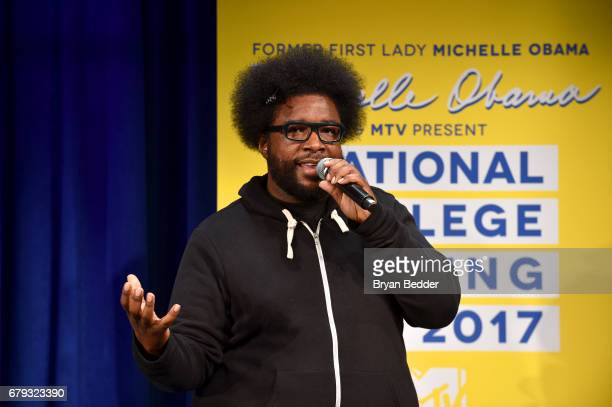 Questlove speaks onstage during MTV's 2017 College Signing Day With Michelle Obama at The Public Theater on May 5 2017 in New York City
