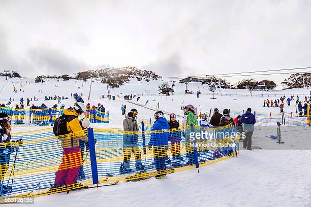 Queue at the t-bar ski lift at Perisher