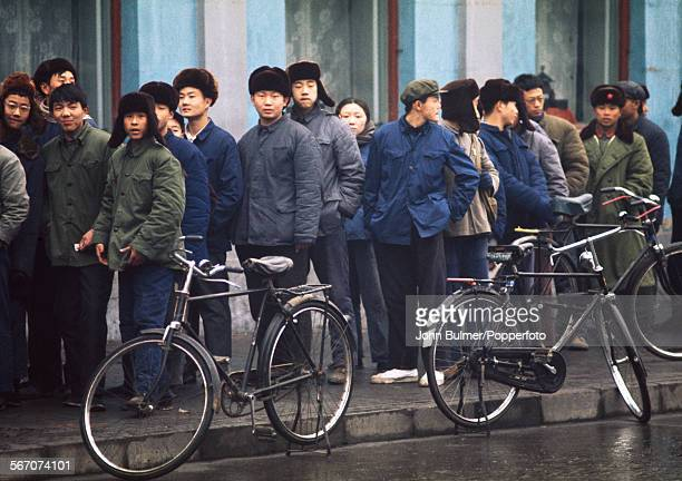 A queue in Beijing China during the Cultural Revolution 1973