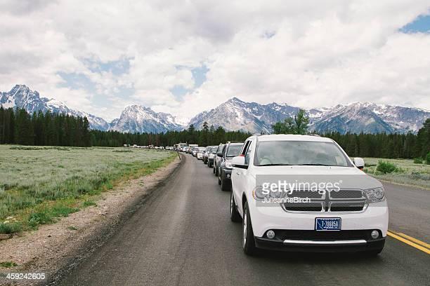Queue of cars to enter Teton National Park