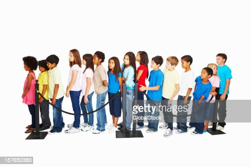 Queue of waiting multi ethnic kids against white background
