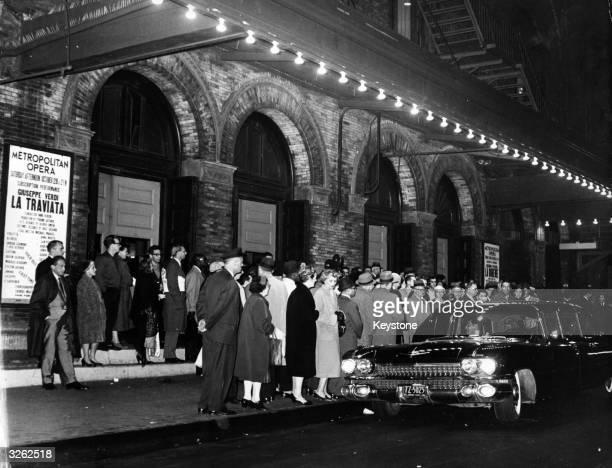 A queue outside the Metropolitan Opera House in New York City