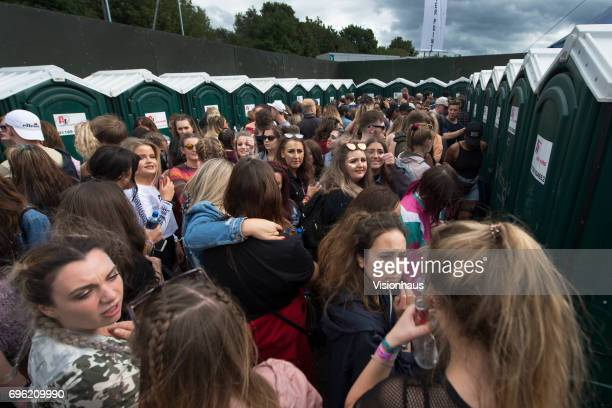 Queues for the toilets at The Parklife Festival 2017 at Heaton Park on June 11 2017 in Manchester England