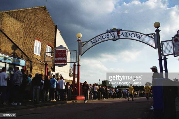 Queues outside the Kingsmeadow Stadium for the Combined Counties League match between AFC Wimbledon and Chipstead at the Kingsmeadow Stadium in...