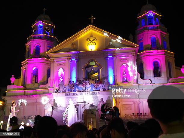 Quiapo Church celebrates Easter Sunday on midnight where a traditional 'salubong' a reenactment of risen Jesus Christs meeting with His mother Mary...