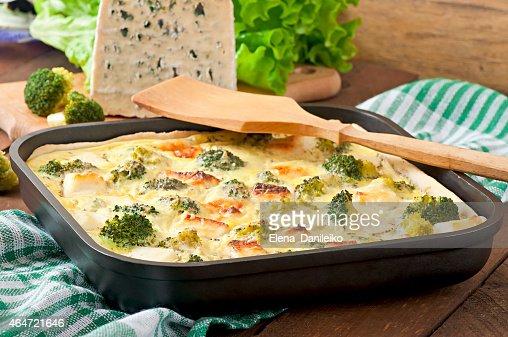 Quiche with broccoli and feta cheese : Stock Photo