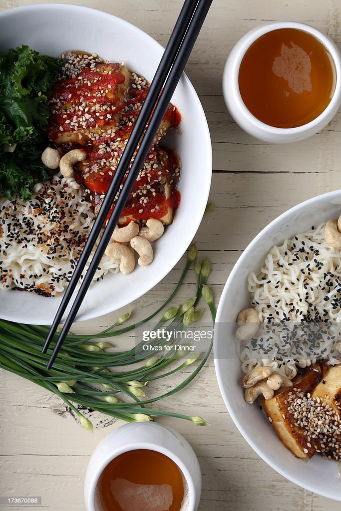 Quick and Easy Tofu, Kale and Ramen Noodle Bowl : Stock Photo