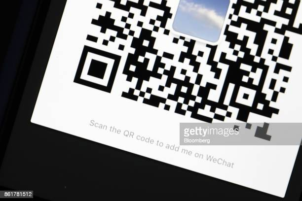 A Quick Response code is seen on the Tencent Holdings Ltd WeChat messaging application in an arranged photograph taken in Hong Kong China on Thursday...