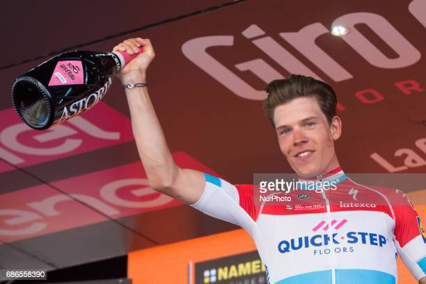 Quick Step Floors celebrates on the podium the end of the 15th stage of the 100th Giro d'Italia 21 May 100th Tour of Italy 2017 / Stage 15 Valdengo...
