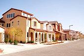 Suburban houses in a quiet southwestern neighborhood