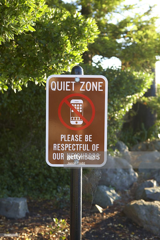 quiet zone no cell phone neighborhood sign stock photo getty images. Black Bedroom Furniture Sets. Home Design Ideas