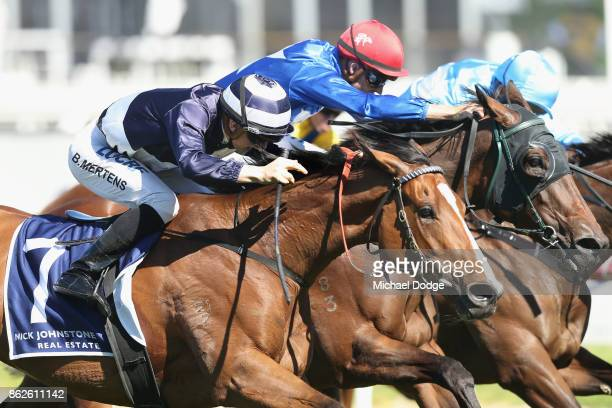 Quilate ridden by Beau Mertens wins the Nick Johnstone Real Estate Ladies' Day Vase during Melbourne Racing at Caulfield Racecourse on October 18...