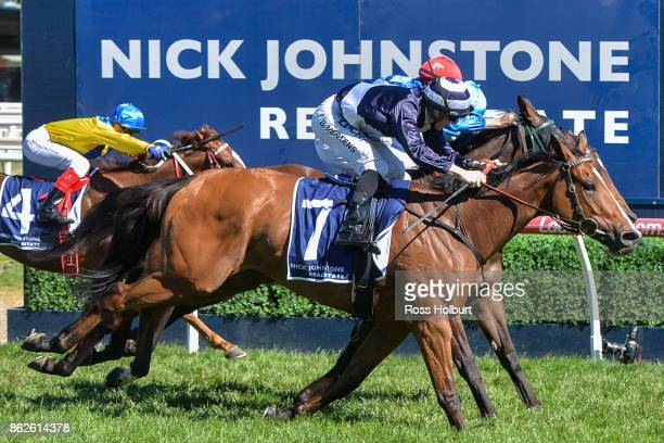 Quilate ridden by Beau Mertens wins the Nick Johnstone Real Estate Ladies' Day Vase at Caulfield Racecourse on October 18 2017 in Caulfield Australia