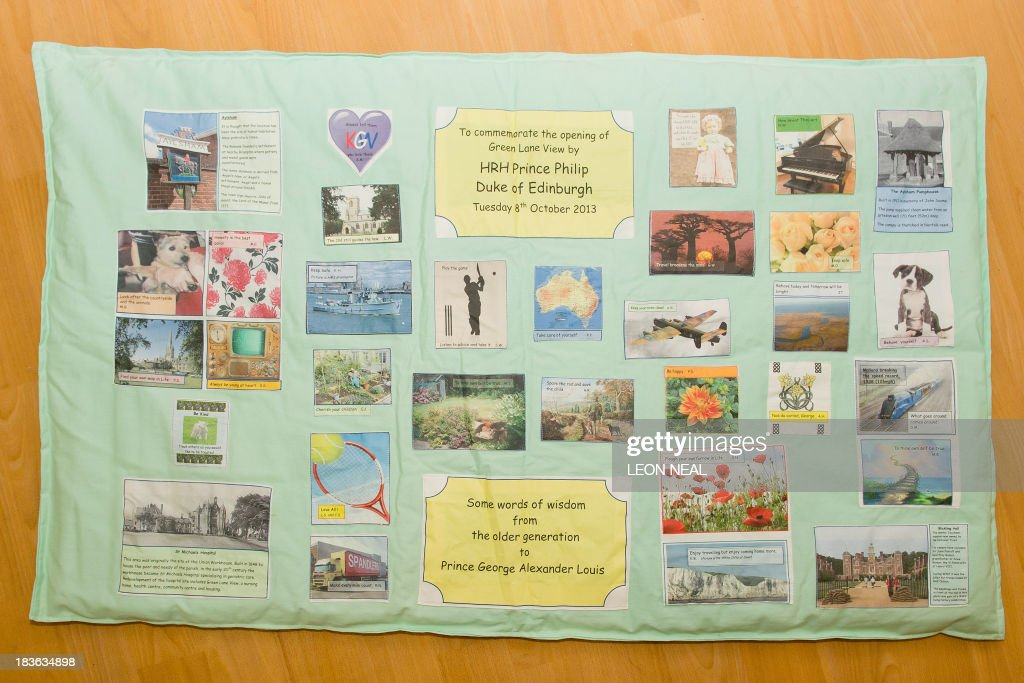 A quilt containing 'words of wisdom' for Prince George is pictured before it was presented to Prince Philip by the residents of the Green Lane View care complex during an official visit by Prince Philip to the St Michael's Care Complex in Aylsham, eastern England, on October 8, 2013.