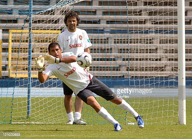 Quim and Ricardo of the Portuguese national team practicing at Restelo stadium in Lisbon Portugal on May 20 2006 for the FIFA 2006 World Cup in...