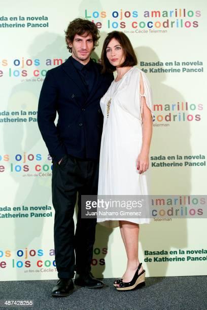 Quim Gutierrez and Emmanuelle Beart attend 'Los Ojos Amarillos de los Cocodrilos' photocall at Santo Mauro Hotel on April 30 2014 in Madrid Spain