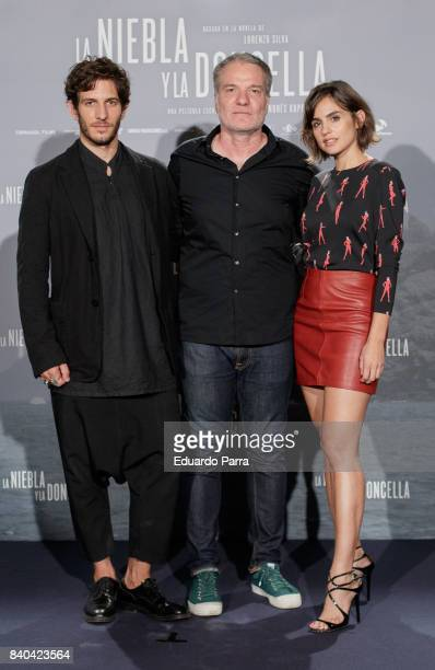 Quim Gutierrez Andres M Koppel and Veronica Echegui attend the 'La niebla y la doncella' photocall at Urso hotel on August 29 2017 in Madrid Spain
