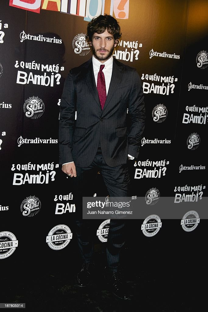 <a gi-track='captionPersonalityLinkClicked' href=/galleries/search?phrase=Quim+Gutierrez&family=editorial&specificpeople=4126293 ng-click='$event.stopPropagation()'>Quim Gutierrez</a> attends 'Quien Mato a Bambi?' premiere at La Cocina Rock Bar on November 12, 2013 in Madrid, Spain.