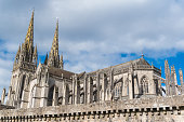 Quimper in Brittany, the Saint-Corentin cathedral, arrows
