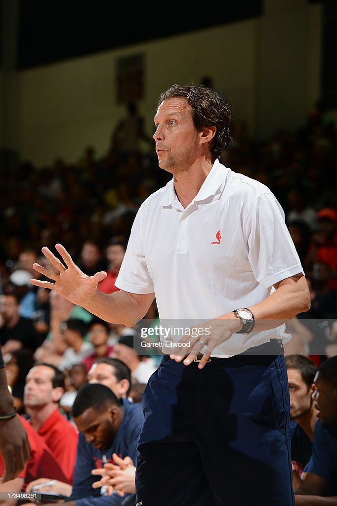 Quin Snyder, assistant coach of the Atlanta Hawks, calls a play against the Miami Heat during NBA Summer League on July 14, 2013 at the Cox Pavilion in Las Vegas, Nevada.