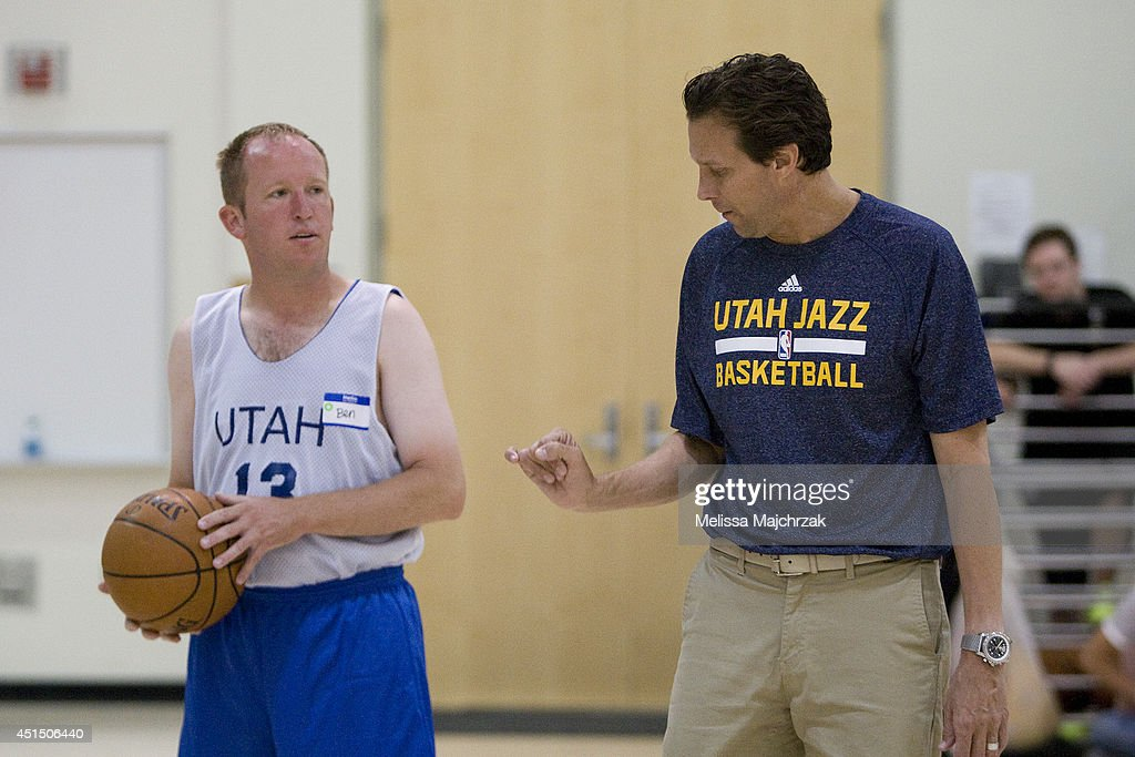 Quin Snyder Head Coach of the Utah Jazz works with kids at a special Olympics at the Zions Basketball Center on June 28, 2014 in Salt Lake City, Utah.