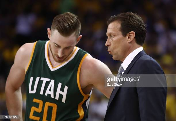 Quin Snyder of the Utah Jazz converses with Gordon Hayward against the Golden State Warriors during Game One of the NBA Western Conference SemiFinals...