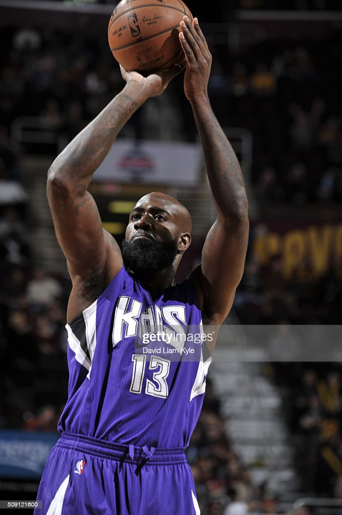 <a gi-track='captionPersonalityLinkClicked' href=/galleries/search?phrase=Quincy+Acy&family=editorial&specificpeople=5674079 ng-click='$event.stopPropagation()'>Quincy Acy</a> #13 of the Sacramento Kings prepares to shoot a free throw against the Cleveland Cavaliers on February 8, 2016 at Quicken Loans Arena in Cleveland, Ohio.
