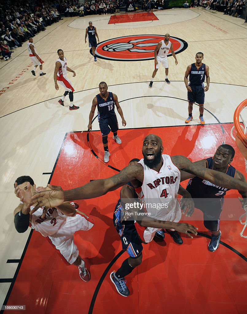 <a gi-track='captionPersonalityLinkClicked' href=/galleries/search?phrase=Quincy+Acy&family=editorial&specificpeople=5674079 ng-click='$event.stopPropagation()'>Quincy Acy</a> #4 of the Toronto Raptors # of Charlotte Bobcats during the game on January 11, 2013 at the Air Canada Centre in Toronto, Ontario, Canada.