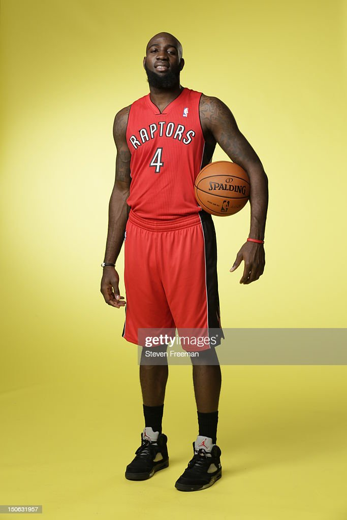 Quincy Acy #4 of the Toronto Raptors poses for a portrait during the 2012 NBA rookie photo shoot on August 21, 2012 at the MSG Training Facility in Tarrytown, New York.