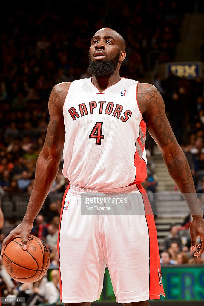 <a gi-track='captionPersonalityLinkClicked' href=/galleries/search?phrase=Quincy+Acy&family=editorial&specificpeople=5674079 ng-click='$event.stopPropagation()'>Quincy Acy</a> #4 of the Toronto Raptors shoots a free-throw against the Indiana Pacers on March 1, 2013 at the Air Canada Centre in Toronto, Ontario, Canada.