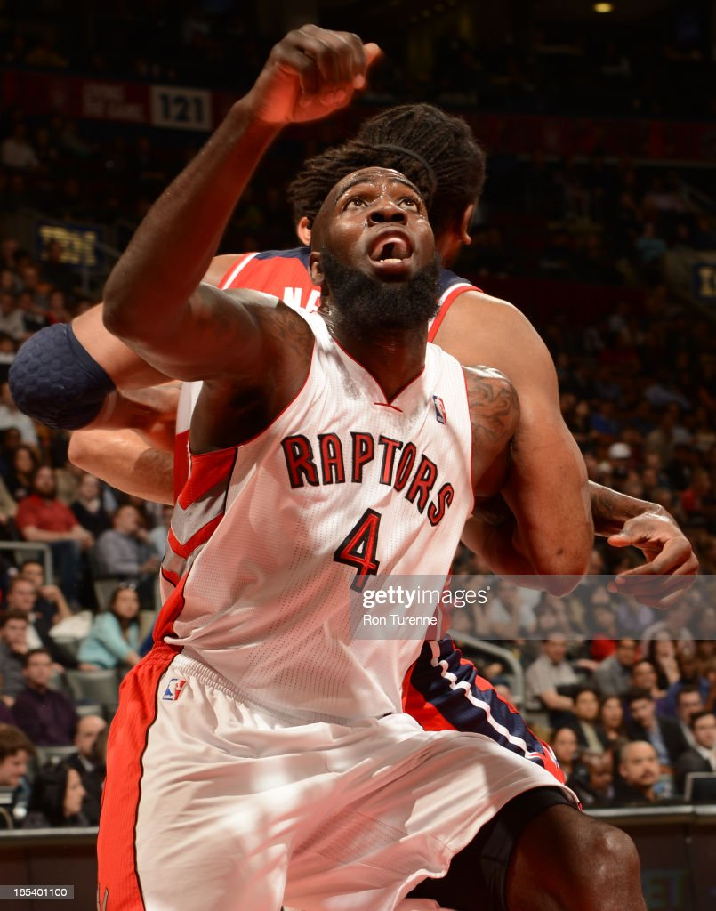 <a gi-track='captionPersonalityLinkClicked' href=/galleries/search?phrase=Quincy+Acy&family=editorial&specificpeople=5674079 ng-click='$event.stopPropagation()'>Quincy Acy</a> #4 of the Toronto Raptors waits for the ball against the Washington Wizards during the game on April 3, 2013 at the Air Canada Centre in Toronto, Ontario, Canada.