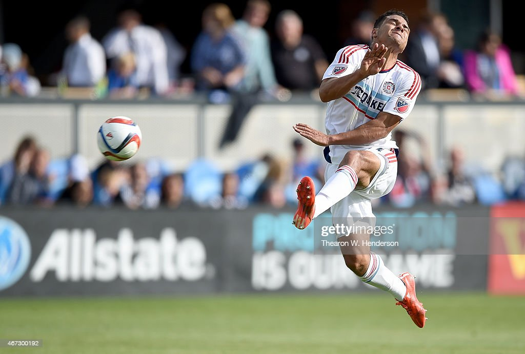 Quincy Amarikwa of Chicago Fire reacts to a ball kicked in his direction against the San Jose Earthquakes in the first half at Avaya Stadium on March...