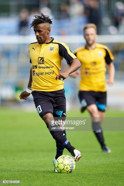 Quincy Antipas of Hobro IK controls the ball during the Danish Alka Superliga match between Hobro IK and FC Helsingor at DS Arena on July 16 2017 in...