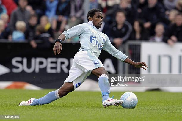 Quincy Antipas of Sonderjyske in action during the Danish Super League match between Sonderjyske and Brondby IF at the Haderslev Fodboldstadion on...