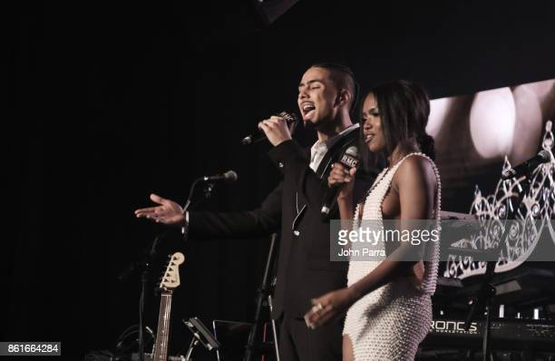 Quincy Brown and Ryan Destiny attend the REVOLT Music Conference Gala Dinner Award Presentation at Eden Roc Hotel on October 14 2017 in Miami Beach...